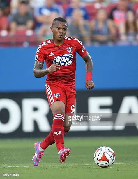 Andres Escobar of FC Dallas pushes the ball upfield against the Philadelphia Union at Toyota Stadium on July 4 2014 in Frisco Texas