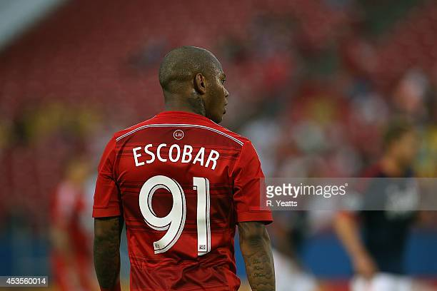 Andres Escobar of FC Dallas stands on the field against the New England Revolution at Toyota Stadium on July 19 2014 in Frisco Texas