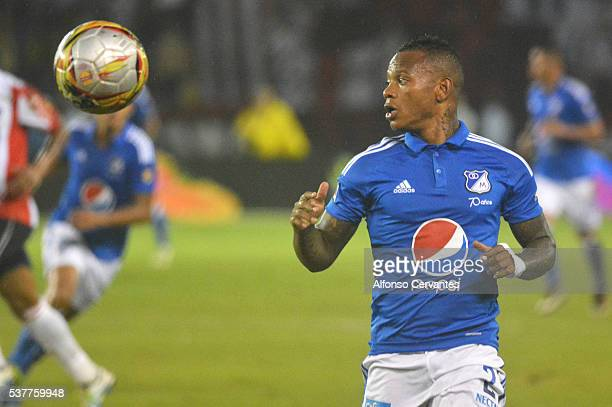 Andres Escobar of Millonarios runs after the ball during a first leg match between Junior and Millonarios as part of quarter finals of Liga Aguila I...