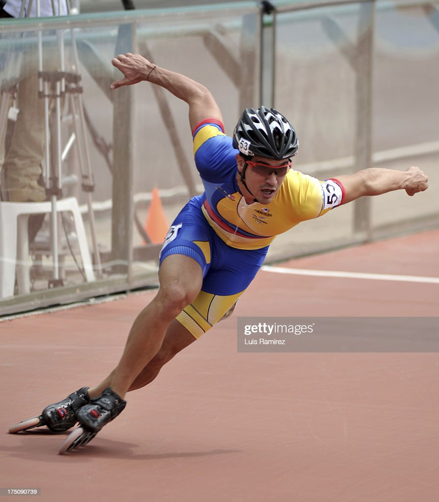 Andres Felipe Muñoz from Colombia during a competition in the 300 meters individual time in Track Speed Roller Skating in the IX World Games Cali 2013 on July 31, 2013 in Cali, Colombia.