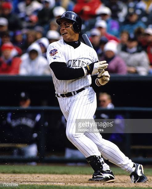 Andres Galarraga of the Colorado Rockies batting during a MLB game against the Cincinnati Reds on April 9 1997 in Denver Colorado