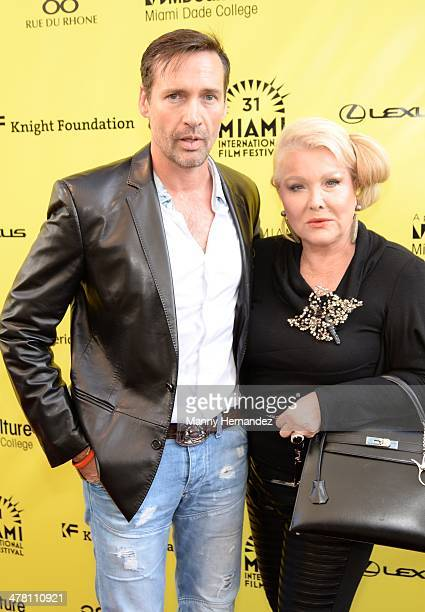 Andres Garcia Jr and Monica Hefler attends An Unbreakable Bond premiere during the Miami International Film Festival at Gusman Center for the...