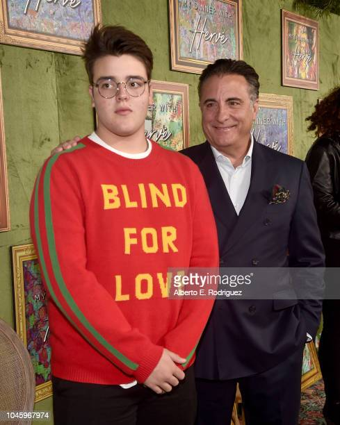 Andres GarciaLorido and Andy Garcia attend the premiere of HBO Films' My Dinner With Herve at Paramount Studios on October 4 2018 in Hollywood...