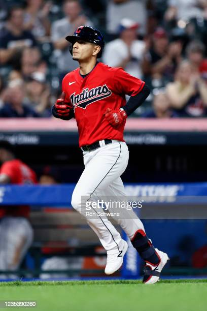 Andres Gimenez of the Cleveland Indians rounds the bases after hitting a solo home run off Joel Payamps of the Kansas City Royals in the third inning...