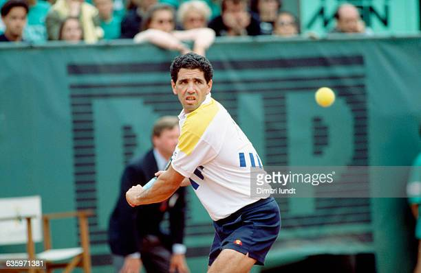 Andres Gomez in action during the 1990 Roland Garros tennis tournament