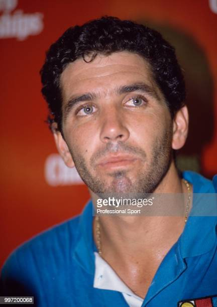 Andres Gomez of Ecuador at a press conference during the Marlboro Championships in Hong Kong circa October 1989