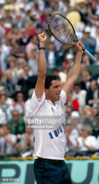 Andres Gomez of Ecuador celebrates after defeating Andre Agassi of the USA in the Men's Singles Final of the French Open Tennis Championships at the...