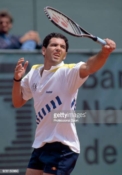 Andres Gomez of Ecuador in action during the French Open Tennis Championships at the Stade Roland Garros circa May 1990 in Paris France