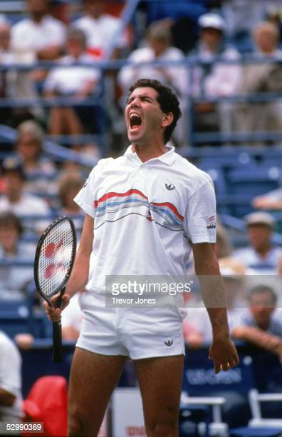 Andres Gomez of Ecuador reacts during a match in the 1986 US Open at USTA National Tennis Center in Flushing New York