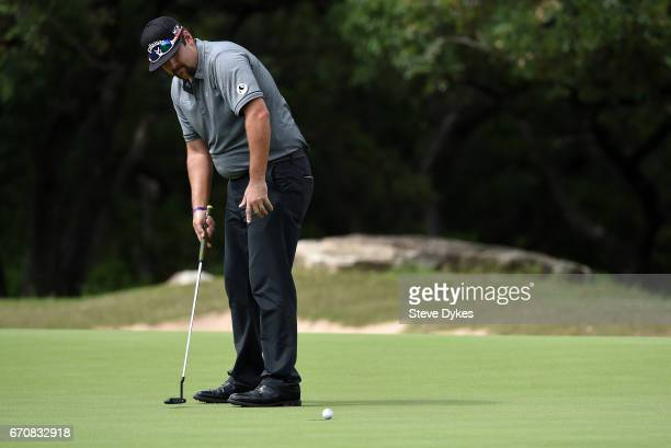 Andres Gonzales putts during the first round of the Valero Texas Open at TPC San Antonio ATT Oaks Course on April 20 2017 in San Antonio Texas