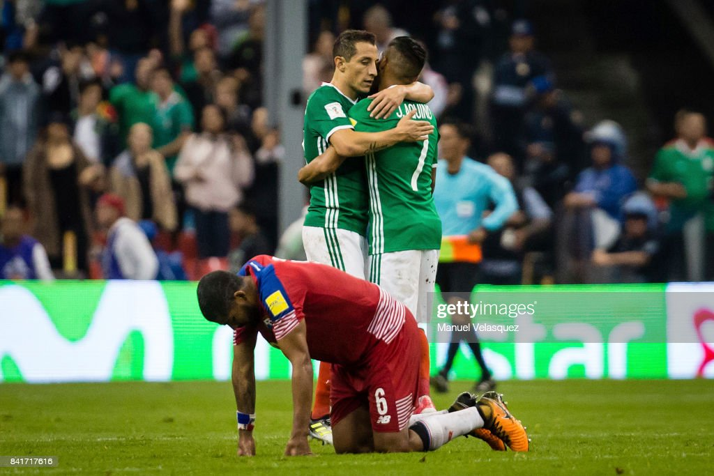 Andres Guardado (L) and Javier Aquino (R) of Mexico celebrate after winning the match between Mexico and Panama as part of the FIFA 2018 World Cup Qualifiers at Estadio Azteca on September 1, 2017 in Mexico City, Mexico.