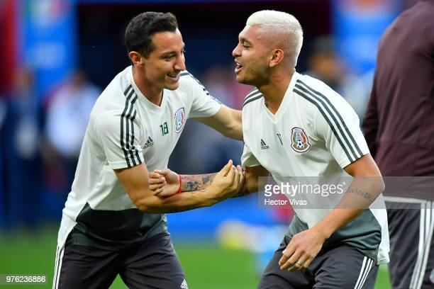 Andres Guardado and Jesus Manuel Corona interact during Match Day 1 Training Session and Press Confrence at Luzhniki Stadium on June 16 2018 in...