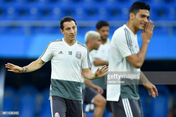Andres Guardado and Raul Jimenez of Mexico warm up during a training session ahead of the match against Korea as part of FIFA World Cup Russia 2018...