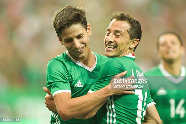 Andres Guardado celebrates his goal with Jurgen Damm of Mexico during the friendly match between the Mexican national team and Paraguay national team...