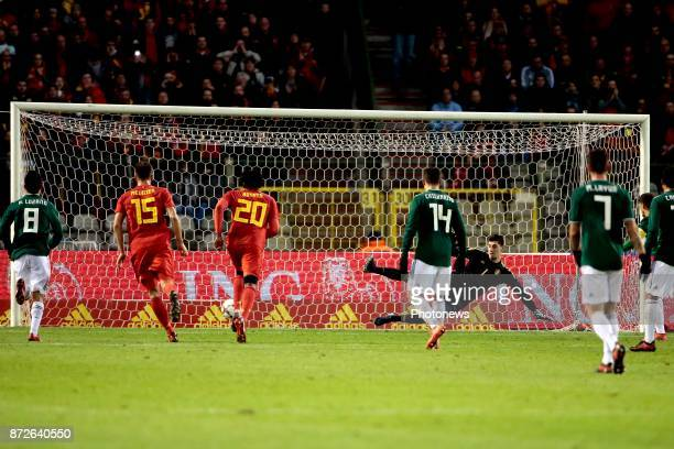 Andres Guardado midfielder of Mexico celebrates scoring a penalty during a FIFA international friendly match between Belgium and Mexico at the King...