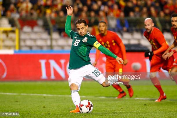 Andres Guardado midfielder of Mexico scores and celebrates during a FIFA international friendly match between Belgium and Mexico at the King Baudouin...