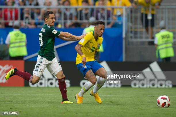 Andres Guardado Neymar during the 2018 FIFA World Cup Russia Round of 16 match between 1st Group E and 2nd Group F at Samara Arena on July 2 2018 in...