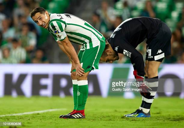 Andres Guardado of Betis reacts during the La Liga match between Real Betis Balompie and Levante UD at Estadio Benito Villamarin on August 17 2018 in...