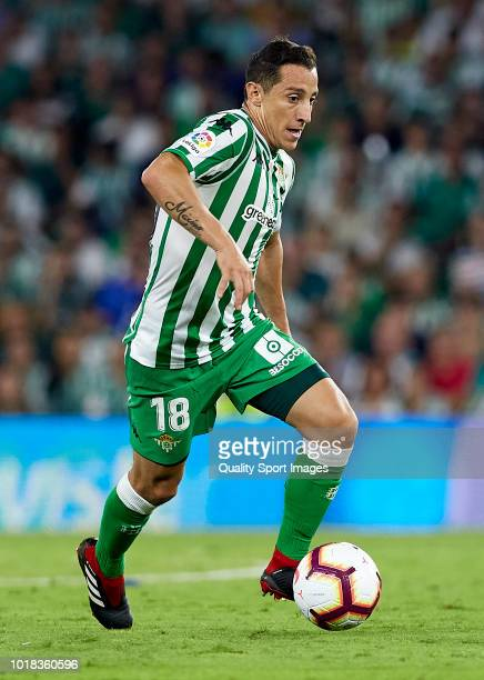 Andres Guardado of Betis runs with the ball during the La Liga match between Real Betis Balompie and Levante UD at Estadio Benito Villamarin on...