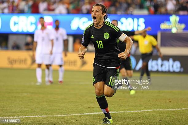 Andres Guardado of Mexico celebrates after scoring a goal to make it 10 in the last minute of the game from a controversial penalty kick during the...