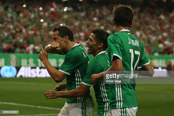 Andres Guardado of Mexico celebrates after scoring the first goal of his team during the international friendly match between Mexico and Paraguay in...