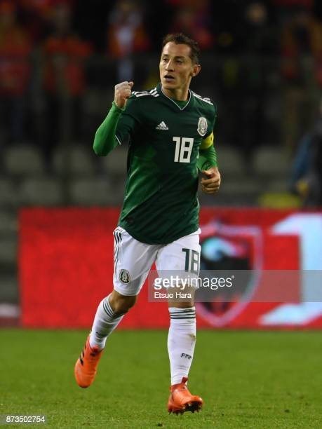 Andres Guardado of Mexico celebrates scoring his side's first goal during the international friendly match between Belgium and Mexico at King...