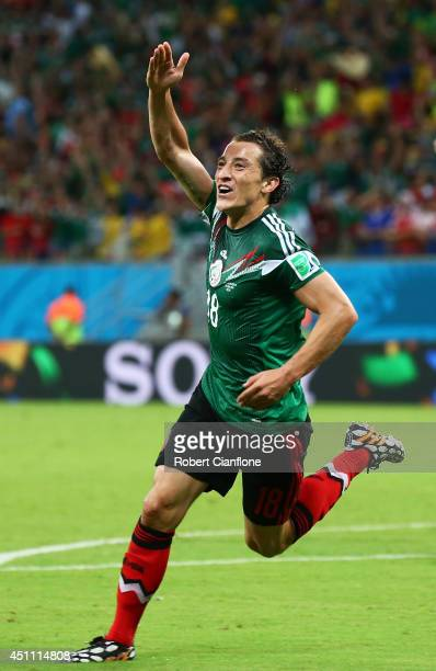 Andres Guardado of Mexico celebrates scoring his team's second goal during the 2014 FIFA World Cup Brazil Group A match between Croatia and Mexico at...