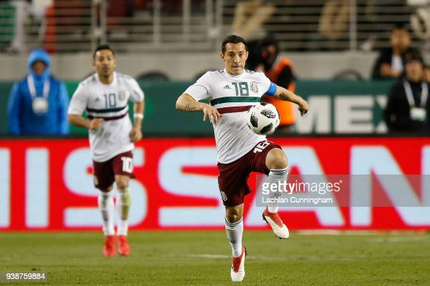 Andres Guardado of Mexico controls the ball against Iceland during their match at Levi's Stadium on March 23 2018 in Santa Clara California