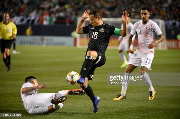 Andres Guardado of Mexico controls the ball during the International Friendly match between Mexico and Chile at Qualcomm Stadium on March 22 2019 in...