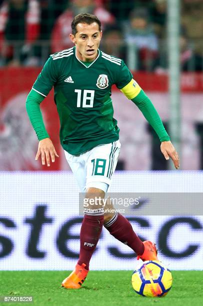 Andres Guardado of Mexico controls the ball during the International Friendly match between Poland and Mexico at Energa Arena Stadium on November 13...