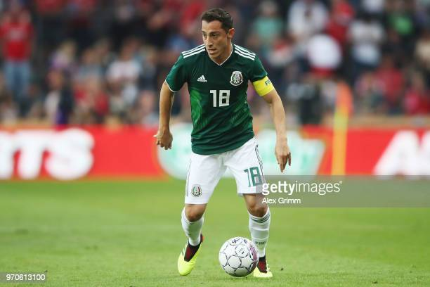 Andres Guardado of Mexico controls the ball during the international friendly match between Denmark and Mexico ahead of the FIFA World Cup Russia...