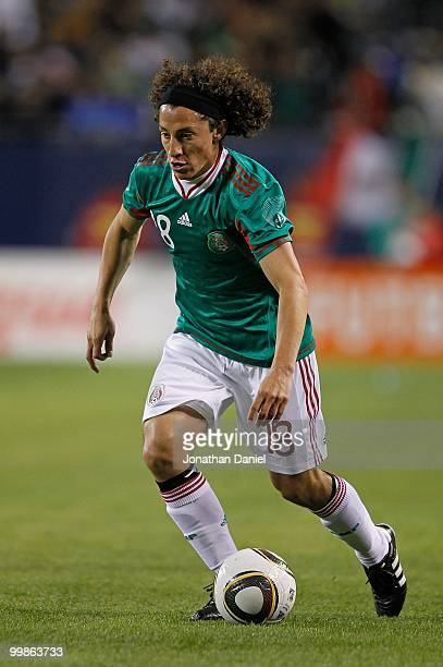 Andres Guardado of Mexico dribbles up the field against Senegal during an international friendly at Soldier Field on May 10 2010 in Chicago Illinois...