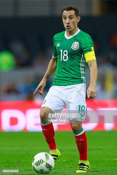 Andres Guardado of Mexico drives the ball during a match between Mexico and Honduras as part of FIFA 2018 World Cup Qualifiers at Azteca Stadium on...