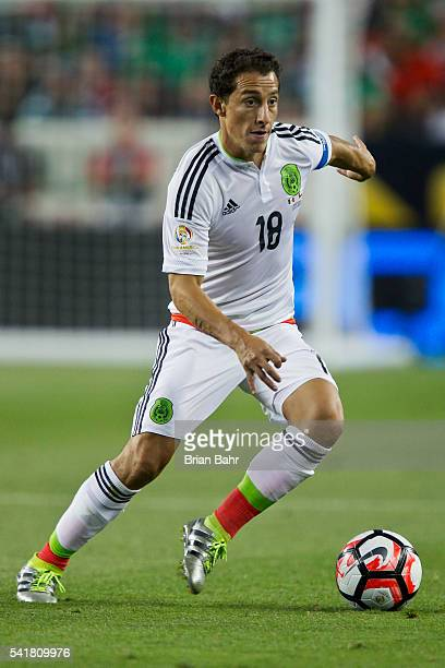 Andres Guardado of Mexico drives the ball during a Quarterfinal match between Mexico and Chile at Levi's Stadium as part of Copa America Centenario...
