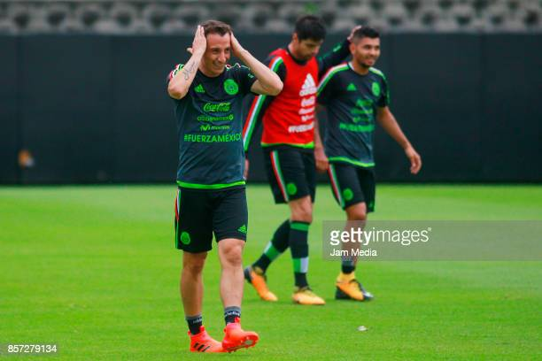 Andres Guardado of Mexico gestures during a Mexico's National Team training session ahead of the Qualifier match against Trinidad Tobago at CAR on...