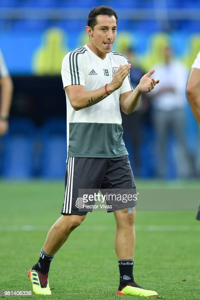 Andres Guardado of Mexico gestures during a training session ahead of the match against Korea as part of FIFA World Cup Russia 2018 at Rostov Arena...