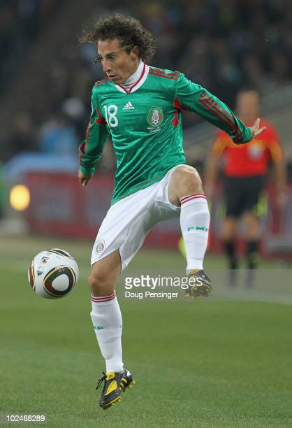 Andres Guardado of Mexico in action during the 2010 FIFA World Cup South Africa Round of Sixteen match between Argentina and Mexico at Soccer City...