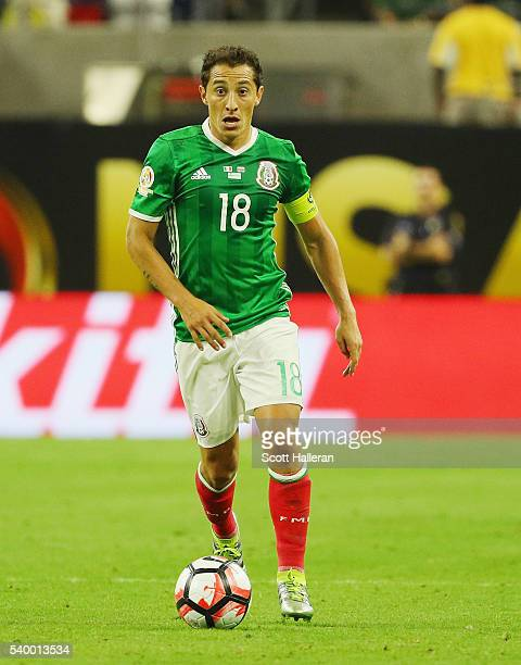 Andres Guardado of Mexico in action during the 2016 Copa America Centenario Group match between Mexico and Venezuela at NRG Stadium on June 13 2016...