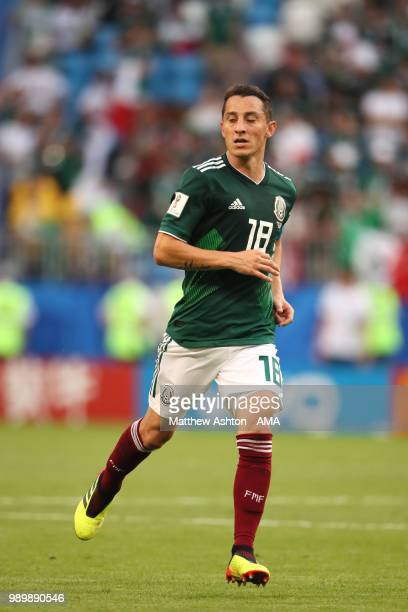 Andres Guardado of Mexico in action during the 2018 FIFA World Cup Russia Round of 16 match between Brazil and Mexico at Samara Arena on July 2 2018...
