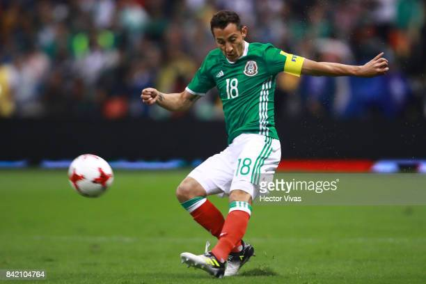 Andres Guardado of Mexico kicks the ball during the match between Mexico and Panama as part of the FIFA 2018 World Cup Qualifiers at Estadio Azteca...