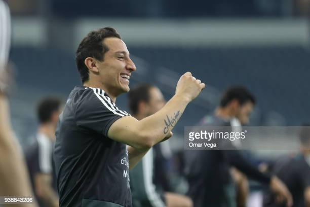 Andres Guardado of Mexico laughs during the Mexico training session ahead of the FIFA friendly match against Croatia at ATT Stadium on March 26 2018...