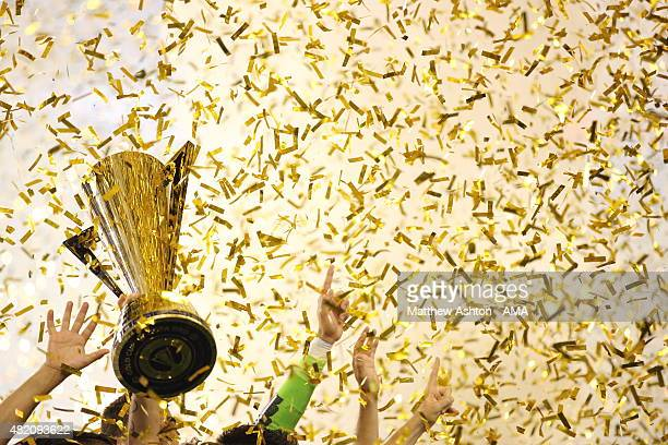 Andres Guardado of Mexico lifts The CONCACAF Gold Cup Trophy after the 2015 CONCACAF Gold Cup Final match between Jamaica and Mexico at Lincoln...