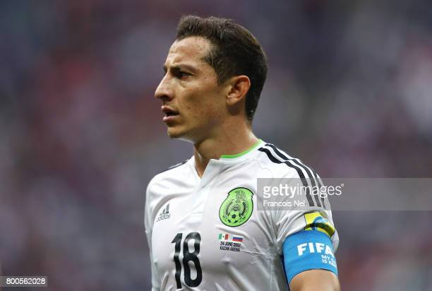 Andres Guardado of Mexico looks on during the FIFA Confederations Cup Russia 2017 Group A match between Mexico and Russia at Kazan Arena on June 24...