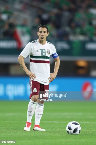 Andres Guardado of Mexico looks on during the international friendly match between Mexico and Croatia at ATT Stadium on March 27 2018 in Arlington...