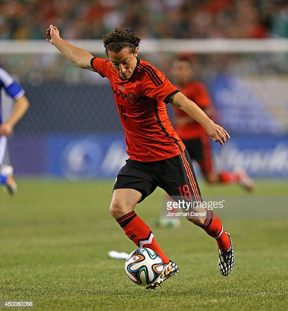 Andres Guardado of Mexico passes against Bosnia Herzegovina during an international friendly match at Soldier Field on June 3 2014 in Chicago...