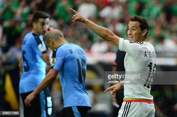 Andres Guardado of Mexico points up the field during the 2016 Copa America Centenario Group C match against Uruguay at University of Phoenix Stadium...