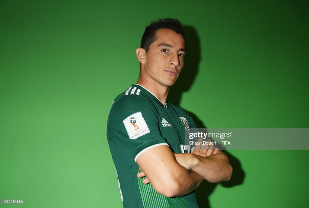 Andres Guardado of Mexico poses for a portrait during the official FIFA World Cup 2018 portrait session at the team hotel on June 12, 2018 in Moscow, Russia.