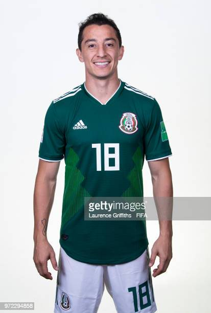 Andres Guardado of Mexico poses for a portrait during the official FIFA World Cup 2018 portrait session at the Team Hotel on June 12 2018 in Moscow...