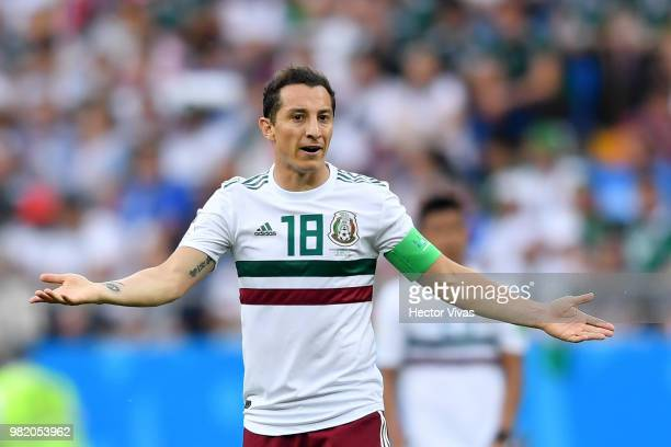 Andres Guardado of Mexico reacts during the 2018 FIFA World Cup Russia group F match between Korea Republic and Mexico at Rostov Arena on June 23...