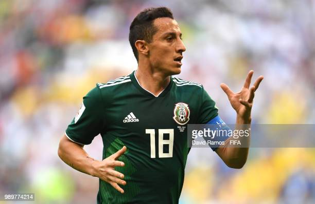 Andres Guardado of Mexico reacts during the 2018 FIFA World Cup Russia Round of 16 match between Brazil and Mexico at Samara Arena on July 2 2018 in...
